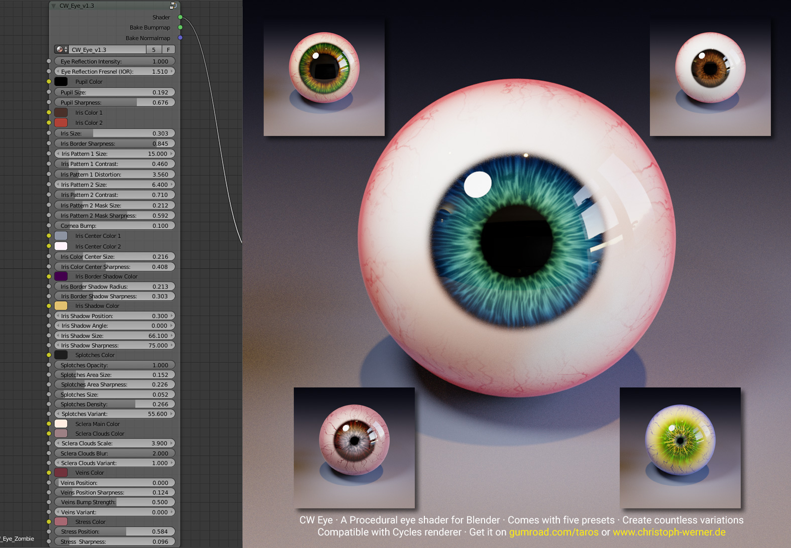 CW Eye – Procedural Eye Material for Blender – Christoph