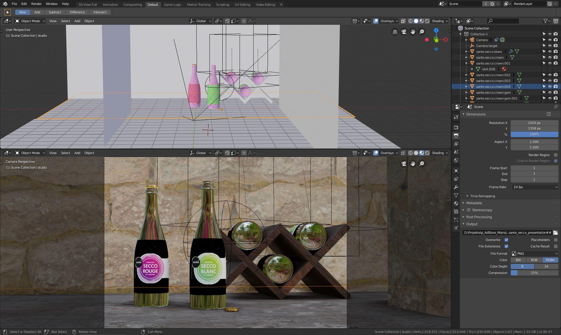 Blender Szene aus Weinflaschen für ADstore / filmproduktion rhein-main